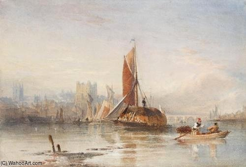 Haybarges On The Medway von Thomas Sewell Robins (1810-1880, United Kingdom)