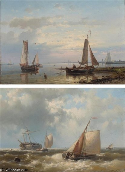 A Pair Of Seascapes von Abraham Hulk Senior (1813-1897, Netherlands)