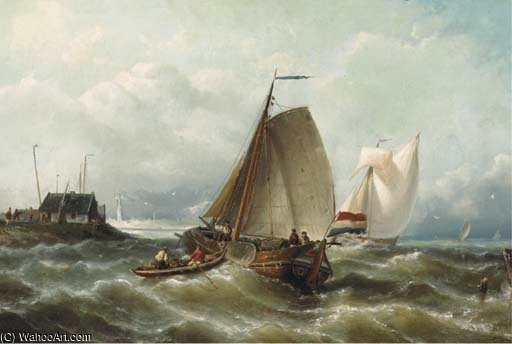 Rabatt auf Choppy Waters By A Coast von Nicolaas Riegen (1827-1889, Netherlands)