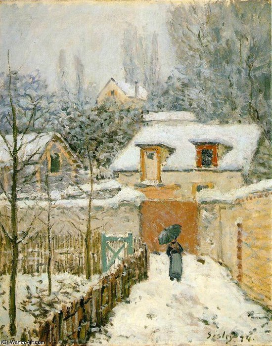 schnee bei louveciennes -   -  , 1874 von Alfred Sisley (1839-1899, France) | WahooArt.com
