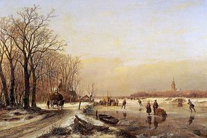 Andreas Schelfhout - Winter landschaft mit scaters Sonne