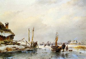 Andreas Schelfhout - Winter mit Eis Boot Sun