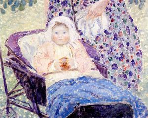 Frederick Carl Frieseke - Baby in Kinderwagen