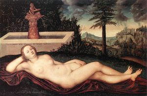 Lucas Cranach The Elder - reclining fluss nymphe  bei  der  brunnen