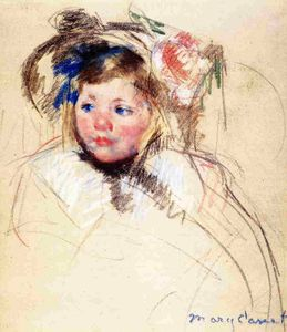 Mary Stevenson Cassatt - Head of Sara in einem Bonnet Looking Left