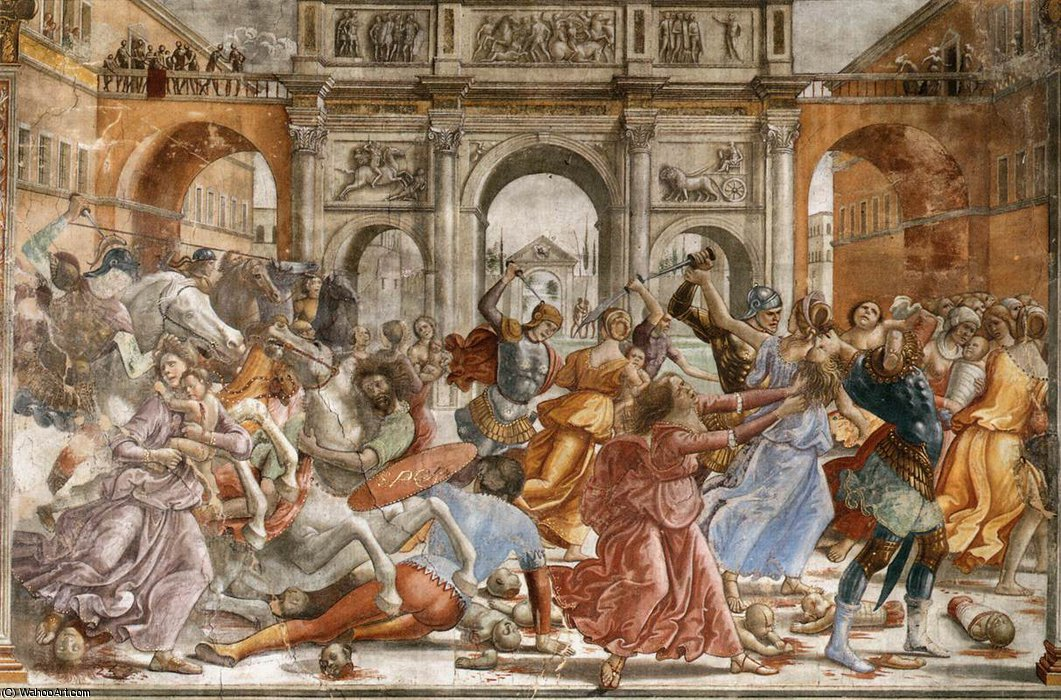 1.leftt Wand - Slaughter of the Innocents von Domenico Ghirlandaio (1449-1494, Italy)