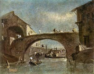 Francesco Lazzaro Guardi - Brücke an Dolo
