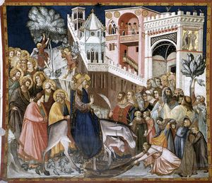 Pietro Lorenzetti - Assisi-vault-Entry christi in jerusalem