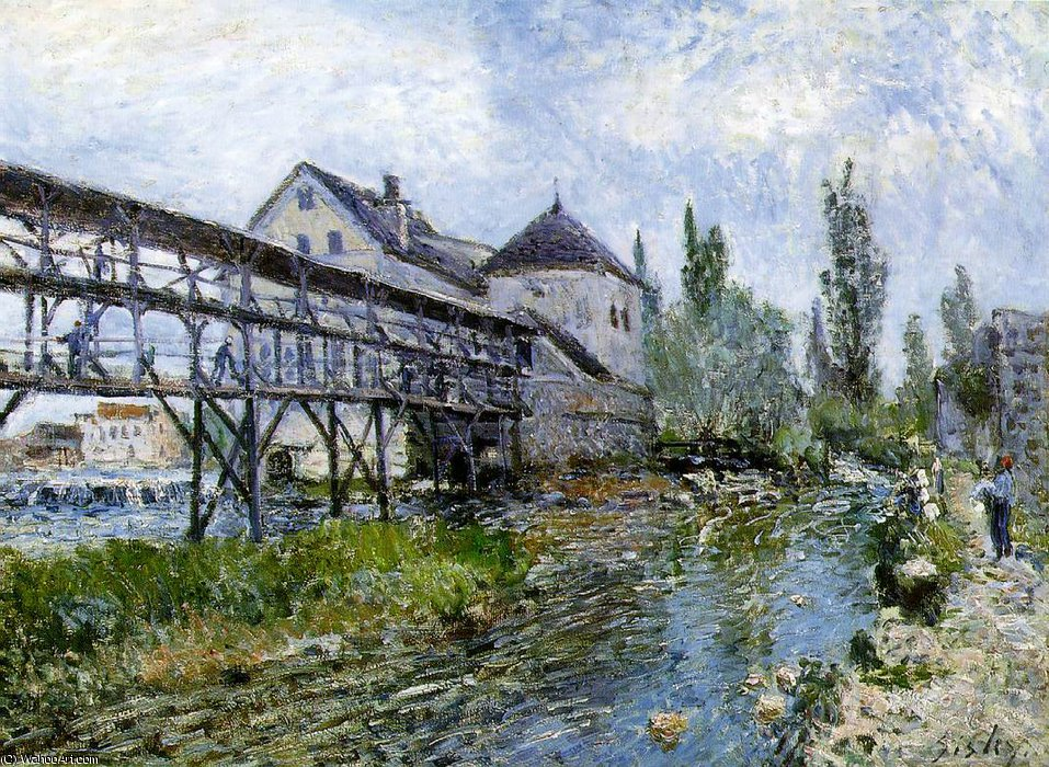 Provencher's mühle bei Mehr t , museum bo, 1883 von Alfred Sisley (1839-1899, France)