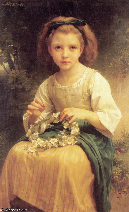 Kind flechtend ein krone von William Adolphe Bouguereau (1825-1905, France)