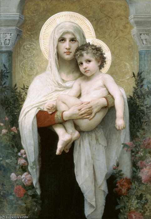 Madonna von dem Rosen von William Adolphe Bouguereau (1825-1905, France)