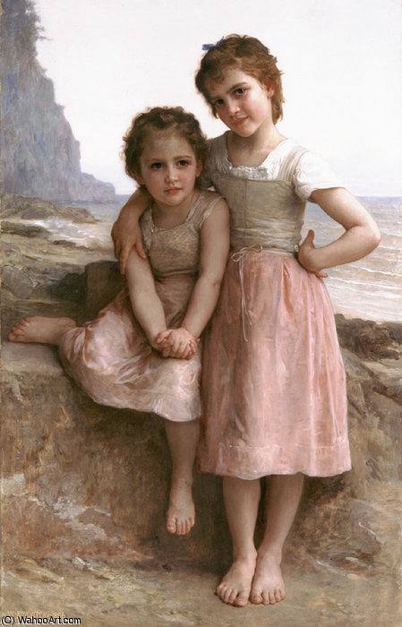 auf dem steinig  strand  von William Adolphe Bouguereau (1825-1905, France)