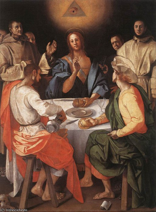 Abendmahl in Emmaus, 1520 von Jacopo Carucci (Pontormo) (1494-1557, Italy) | WahooArt.com