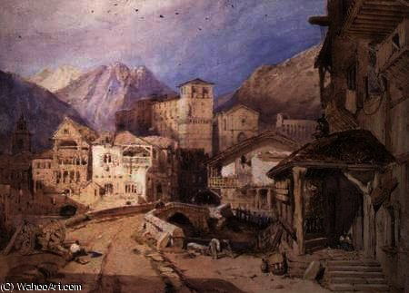 dorf in der  Tirol  von George Clarkson Stanfield (1793-1867, United Kingdom)