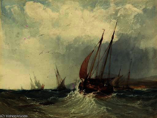 Ein Trawler in einem Wellengang von Charles Bentley (1805-1854, United Kingdom)