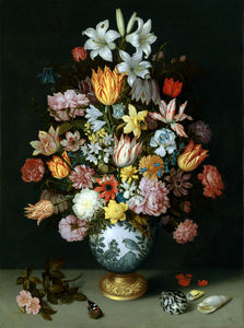 Ambrosius Bosschaert The Elder - Blumenstrauß in Tonvase (1609-1610) London, Nat. Galerie)