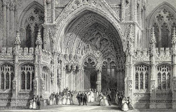 Lincoln Cathedral Entrance E.Challis nach einem Bild von Thomas Allom (1804-1872, United Kingdom)