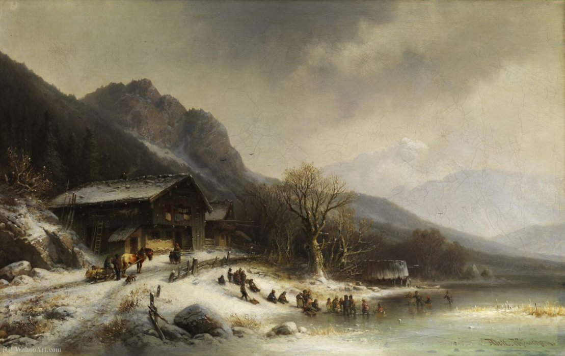 Winterlandschaft von Anton Doll (1826-1887, Germany)