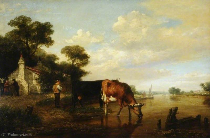 Cattle drinking von George Vincent (1796-1831, United Kingdom)