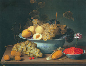 Jacob Foppens Van Es - Nature morte aux fruits dans des porcelaines