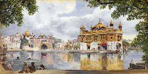 Marianne North - die golden temple , Amritzur , Indien . 26 Kann 1878