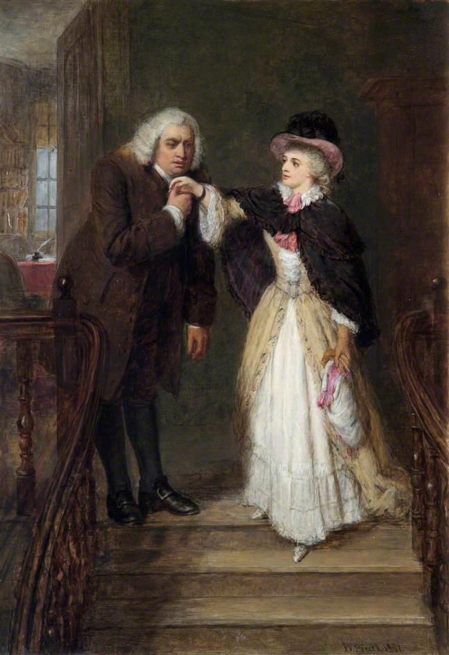 dr. johnson und mrs siddons in bolt Platz, öl auf leinwand von William Powell Frith (1819-1909, United Kingdom)