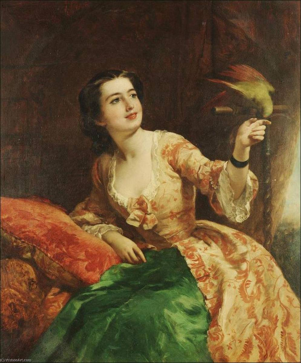 die grüne papagei , öl auf leinwand von William Powell Frith (1819-1909, United Kingdom)