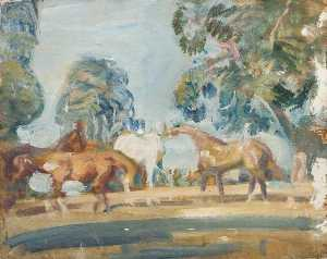 Alfred James Munnings - Studio von 'Rose' , 'Wild Bird' , 'Peggy' und 'Stockings'