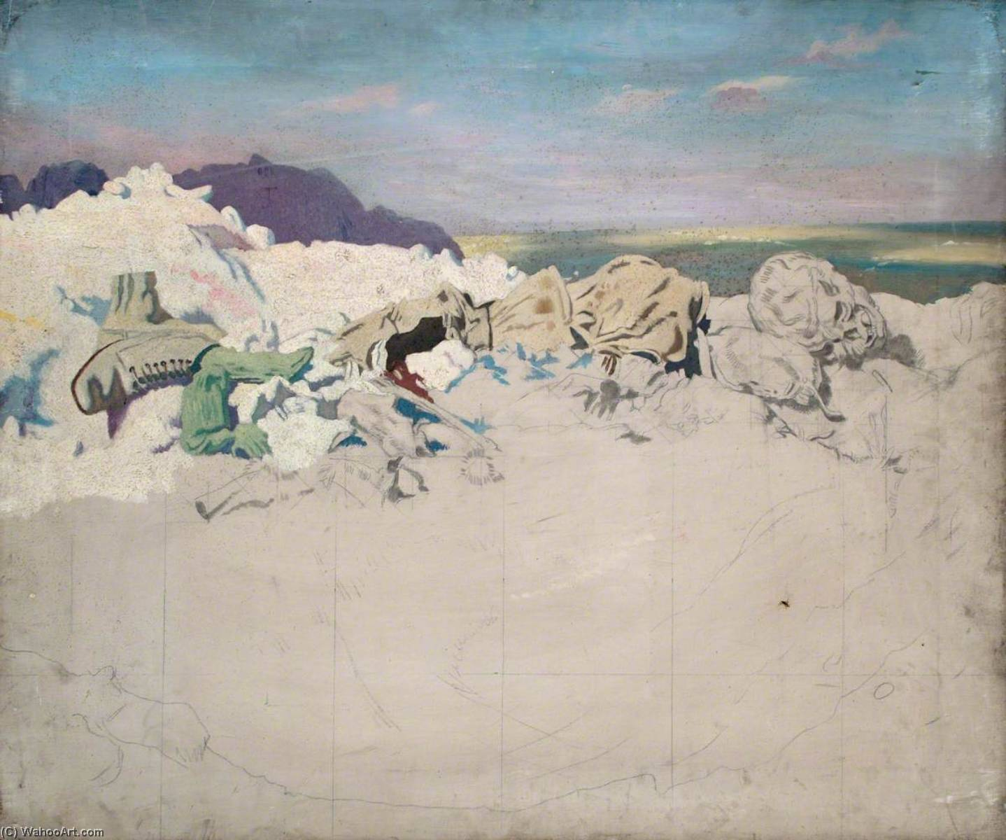 beaumont hamel, öl auf leinwand von William Newenham Montague Orpen (1878-1931, Ireland)