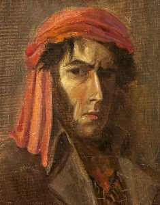 Charles Paget Wade - selbstporträt in ein Rot Turban