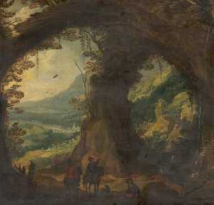 Joos De Momper The Younger - landschaft mit reisende