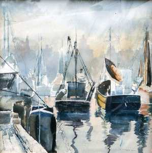 Ruth Van Sickle Ford - (Boats im hafen mit chicago Horizont ) , ( malen )