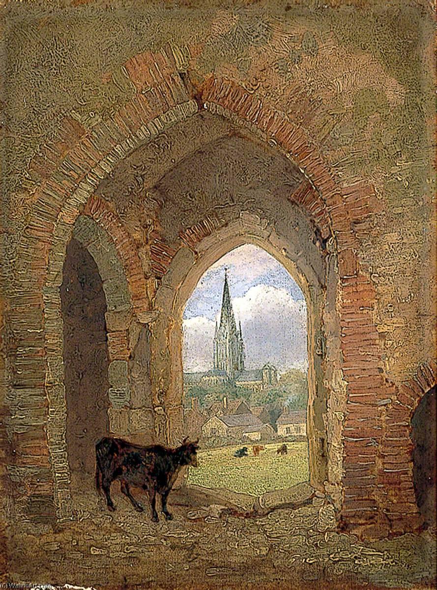 Blick durch der torbogen von dem Kuh Aufsatz , Norwich , Aufweisend ...