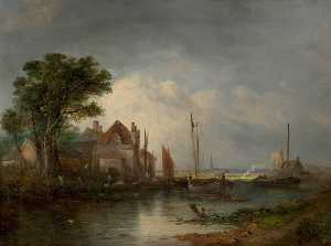 William Henry Crome - fluss szene mit boote
