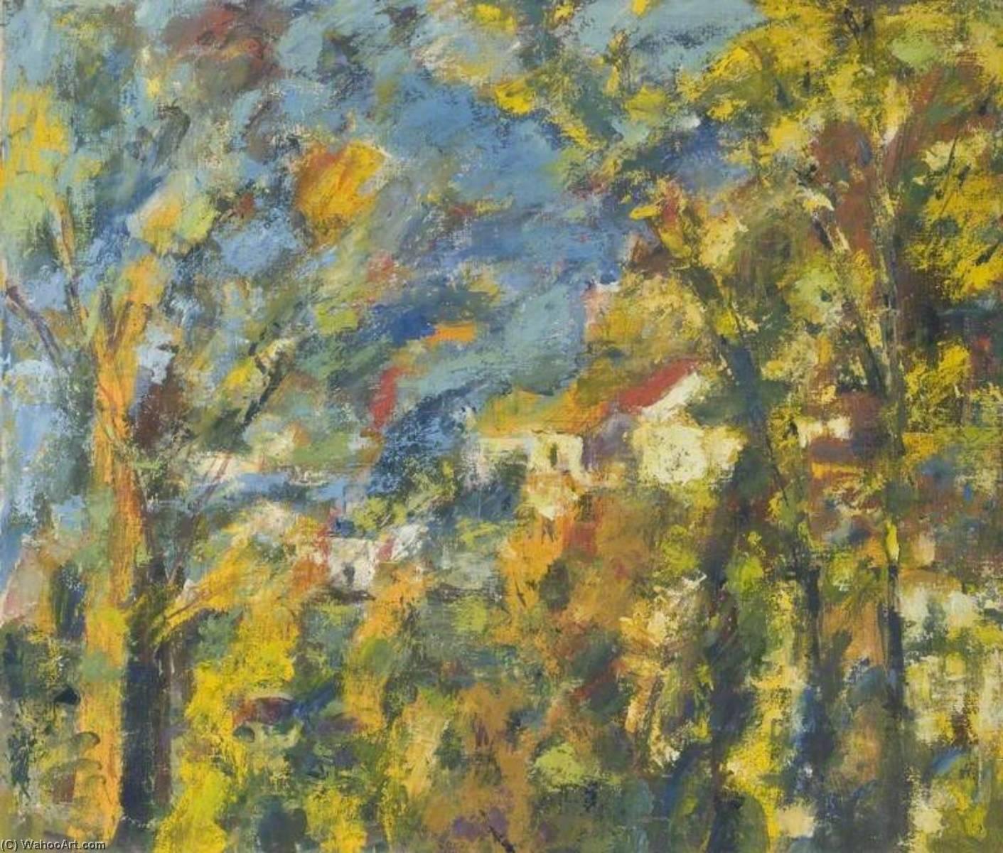 Hillside und Häuser Umrahmt von Bäume , ein impressionist Studie, öl ...