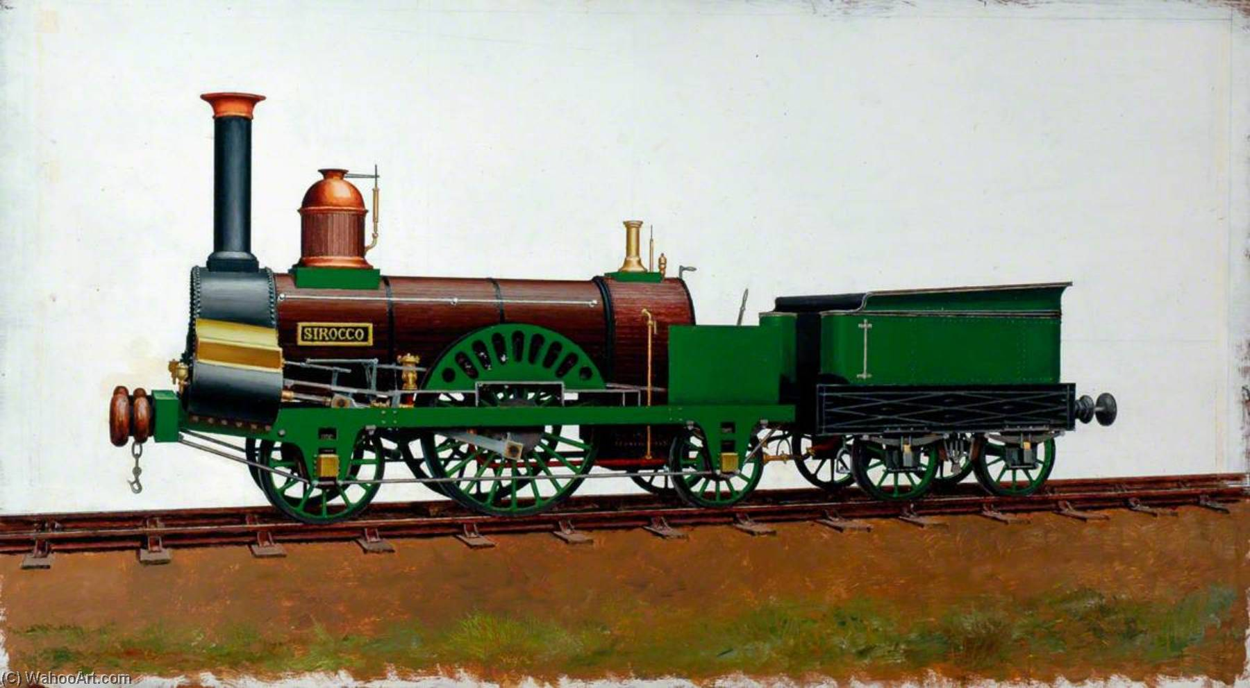 grand junction Eisenbahn 2–2–2 Lokomotive 'Sirocco' von Henry Maurice Whitcombe | WahooArt.com