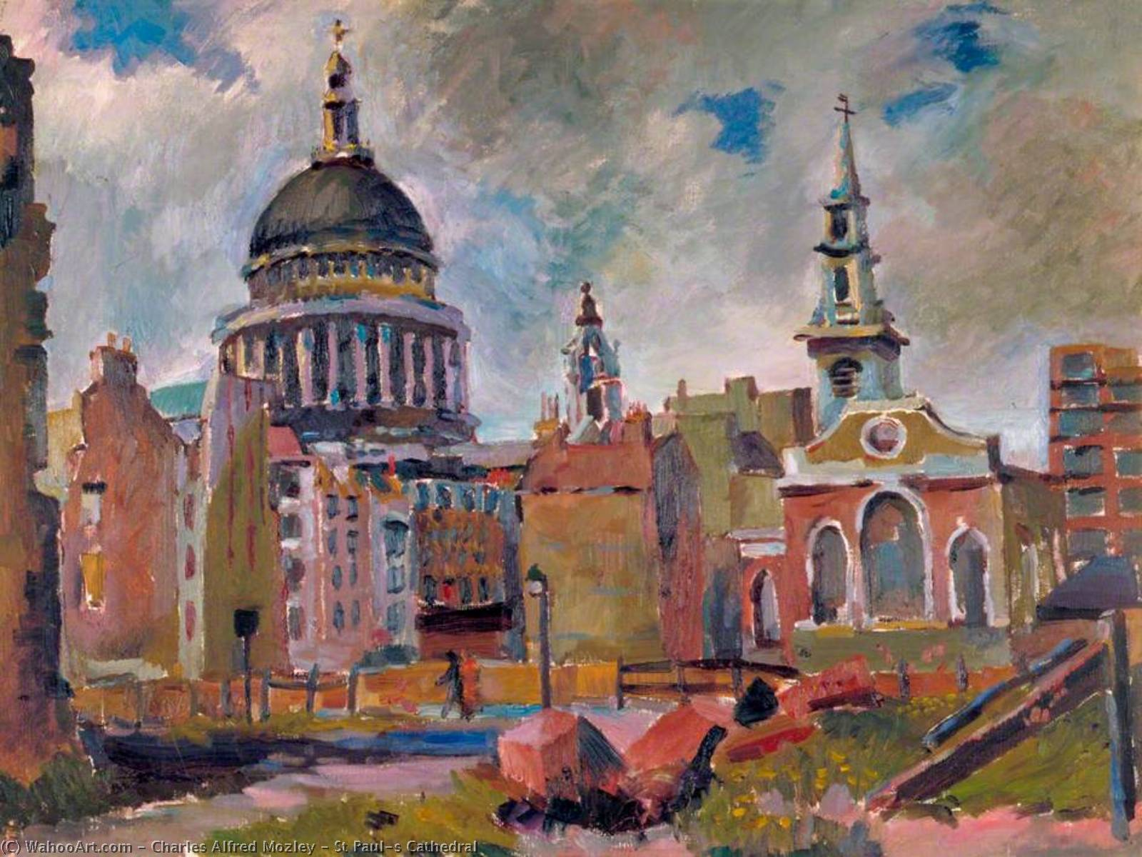 Str Paul`s Kathedrale, 1940 von Charles Alfred Mozley (1914-1991, United Kingdom) |  | WahooArt.com