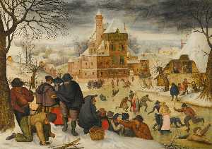 Pieter Brueghel The Younger - a winterlandschaft mit  skater