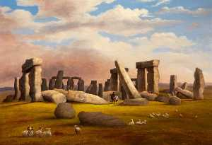 Richard Tongue - schafe weiden , Stonehenge