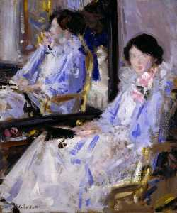 Francis Campbell Boileau Cadell - dame in blau