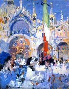 Francis Campbell Boileau Cadell - Florian's Kaffee , Venedig