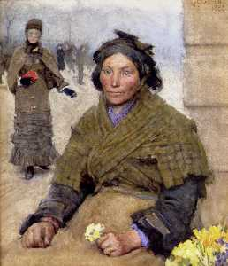 George Clausen - Flora , the gypsy blume seller